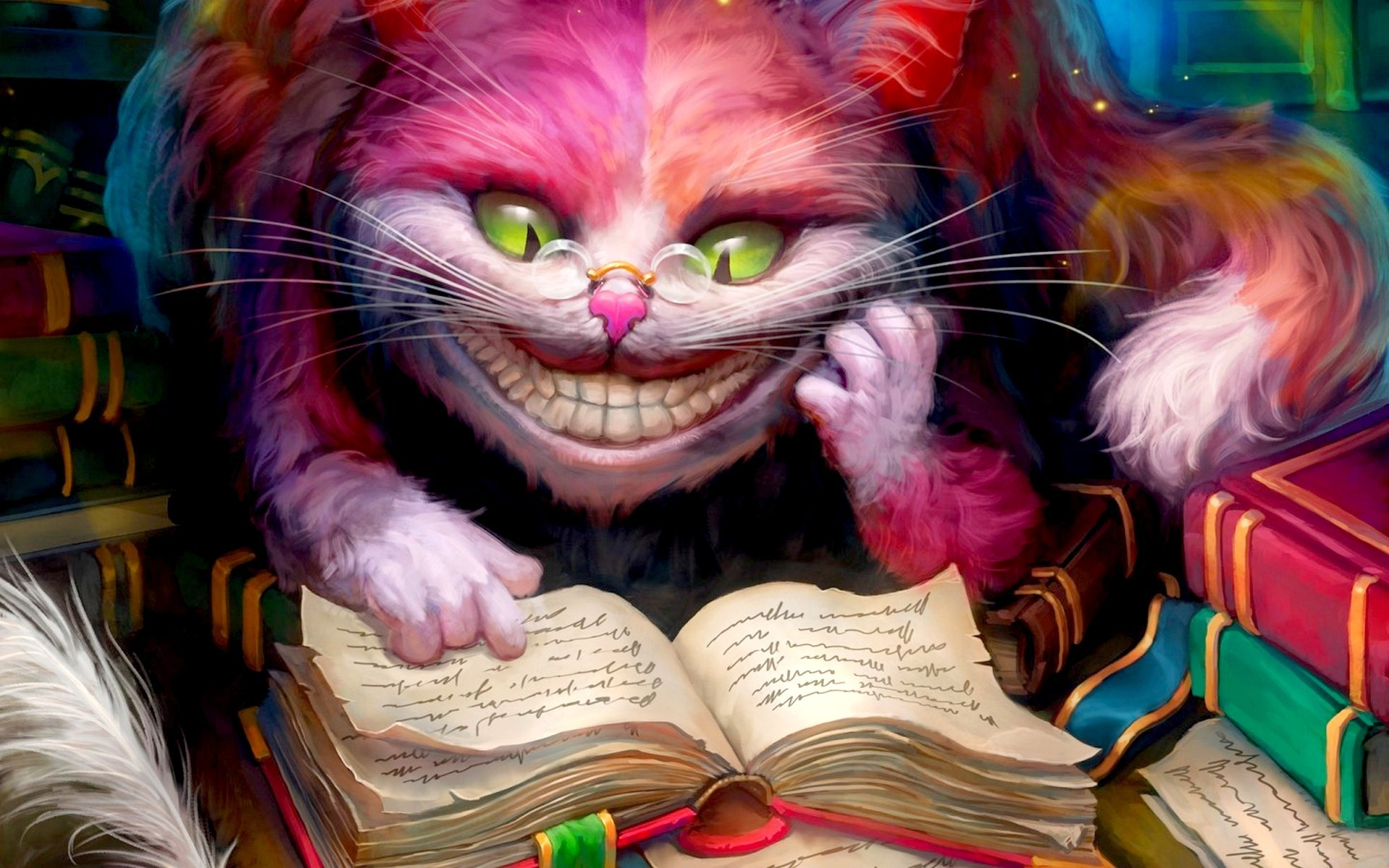 Fantasy_Cheshire_Cat_reading_a_book__Alice_in_Wonderland_102313_